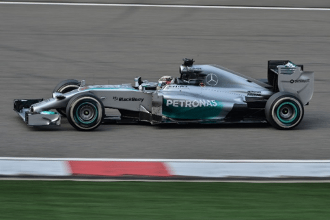 Lewis Hamilton in a Mercedes at the Chinese GP